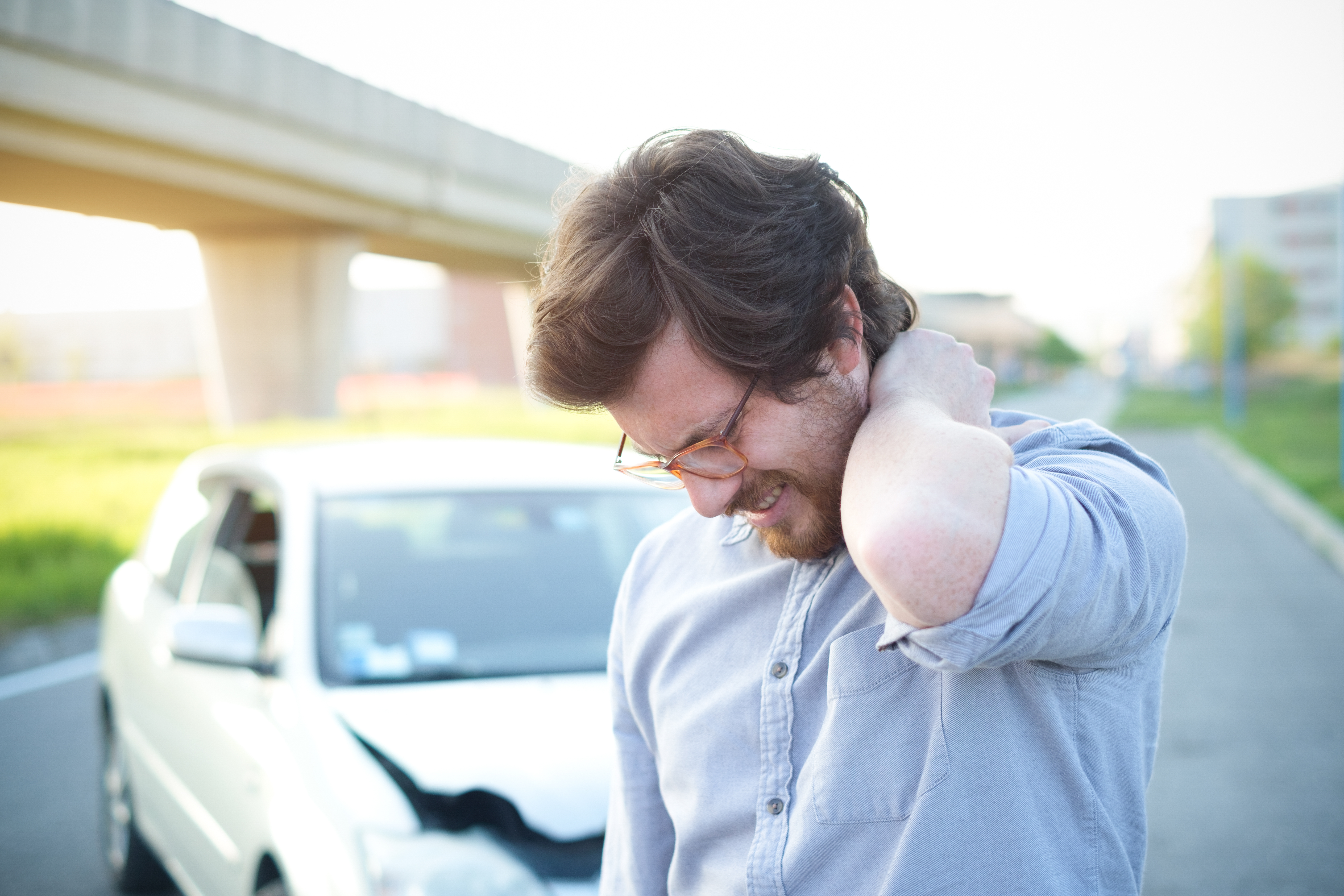 Man injured in a car accident who could be helped by Kate Frame Acupuncture